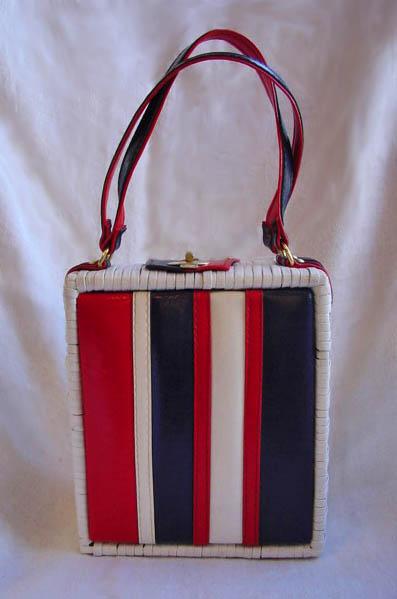 vintage, clothing, fashion, purse, handbag, 50s, 60s, basket, patriotic, election, daisyfairbanks