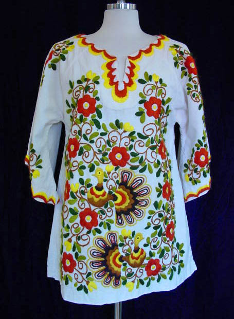 vintage, clothing, fashion, daisyfairbanks, mexican, embroidered, turkey, top, blouse, tunic