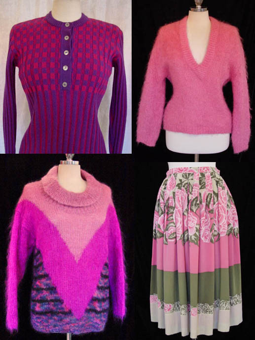 Pinkswtrs, pink, sweaters, vintage, fashion, clothing, skirt, daisyfairbanks