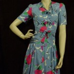 1930s Blue Floral Rayon - mustangannees